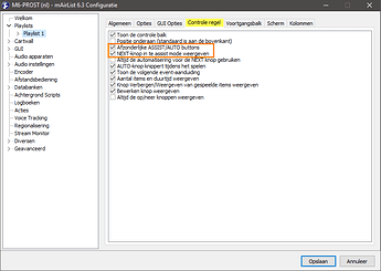 v6.3 Configuratie (nl) Playlist Controle regel