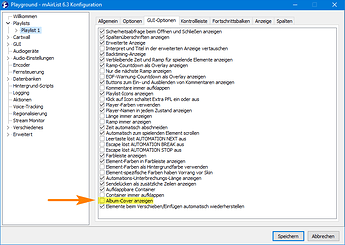 v6.3 Konfig Playlist GUI-Optionen