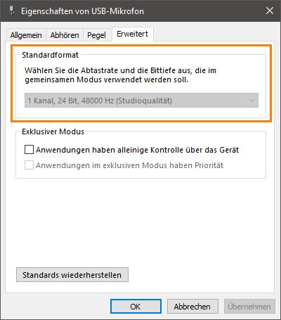 USB-Mikrofon keine Auswahl der Abtastrate