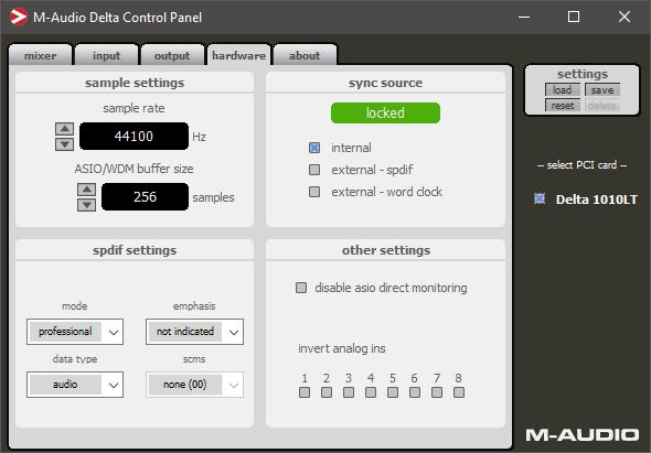 M-Audio Delta 1010 Control Panel 44100