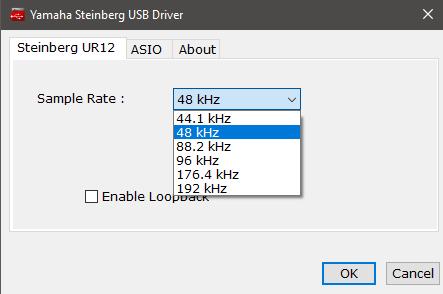 Yamaha Steinberg UR12 Treiber 48 kHz