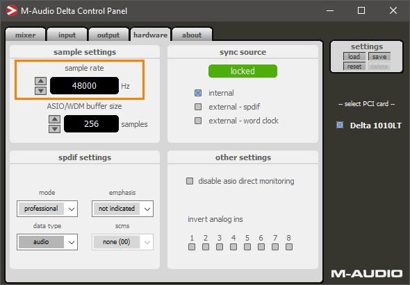 M-Audio Delta 1010 Control Panel