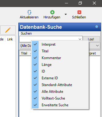 v6.3 Browser Filter in der Datenbank-Suche
